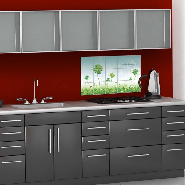 Red splashback and an intriguing sheen on the cupboards.