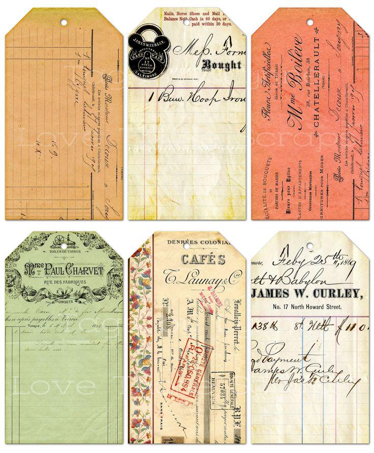 Printable Vintage-type Tags,  2 1/2 by 4 1/2
