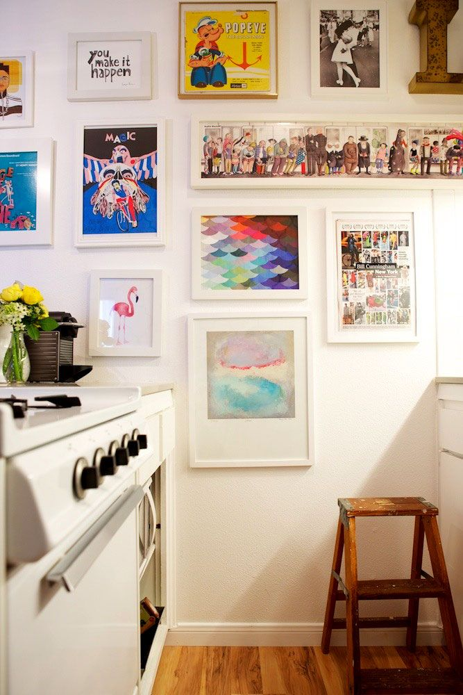 Framed art to cover open wall space in the kitchen