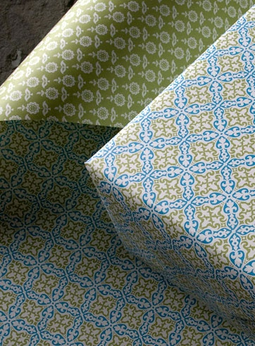 Julep green and blue recycled gift wrap