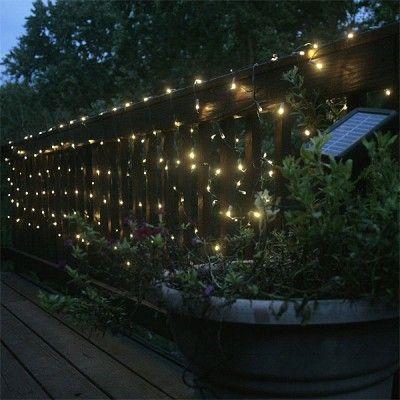 Outdoor String Lights On Fence Image - pixelmari.com