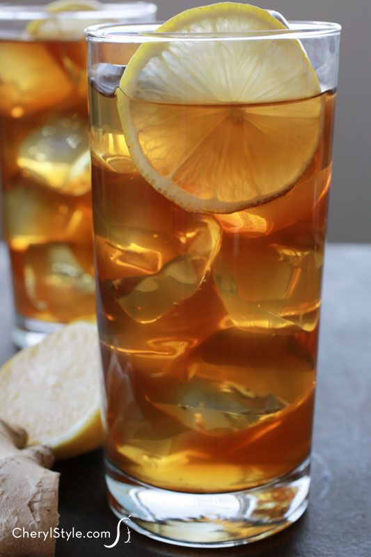 Refreshing honey ginger iced tea with lemon
