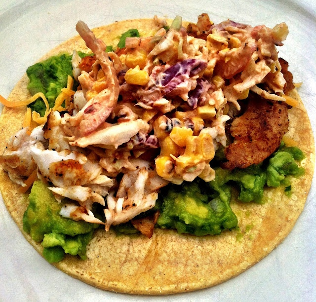 Spicy Fish Tacos with Grilled Corny Slaw | Food | Pinterest