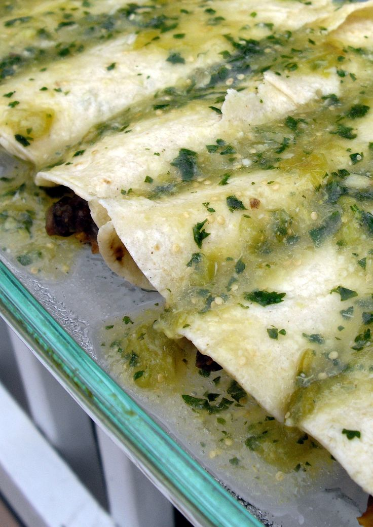... . Vegetable and black bean Enchiladas with Roasted tomatillo sauce