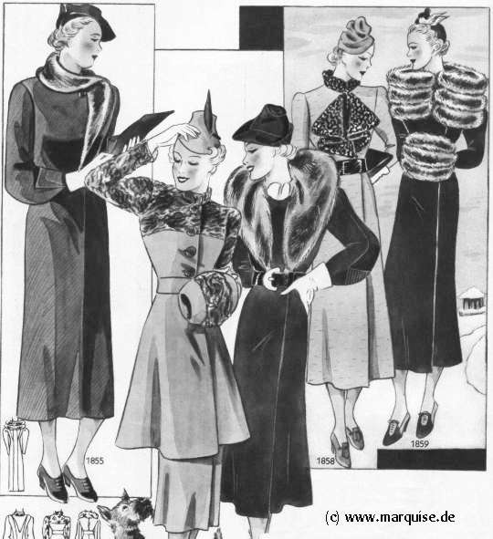 January 1937 winter fashion plate