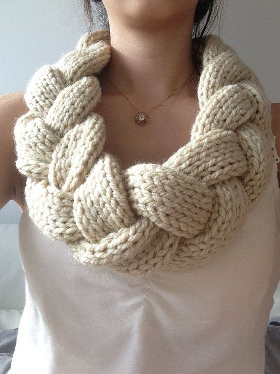 Braided Knit Infinity Scarf Cowl