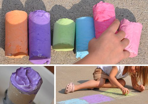homemade sidewalk chalk, bubble solution, play dough, colored pasta, etc.