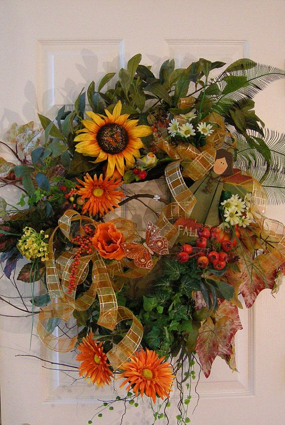 Fall autumn xl front door floral wreath wreaths pinterest Fall autumn door wreaths