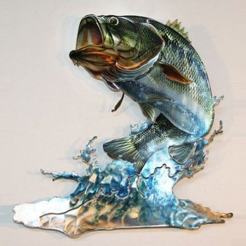 Bass fish metal wall art home decor cabin pinterest for Bass fish painting