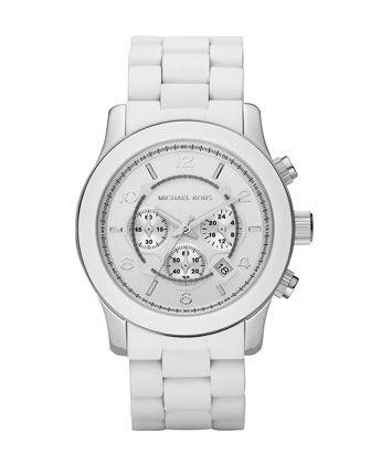 Michael Kors White Oversized PU Chronograph Watch.