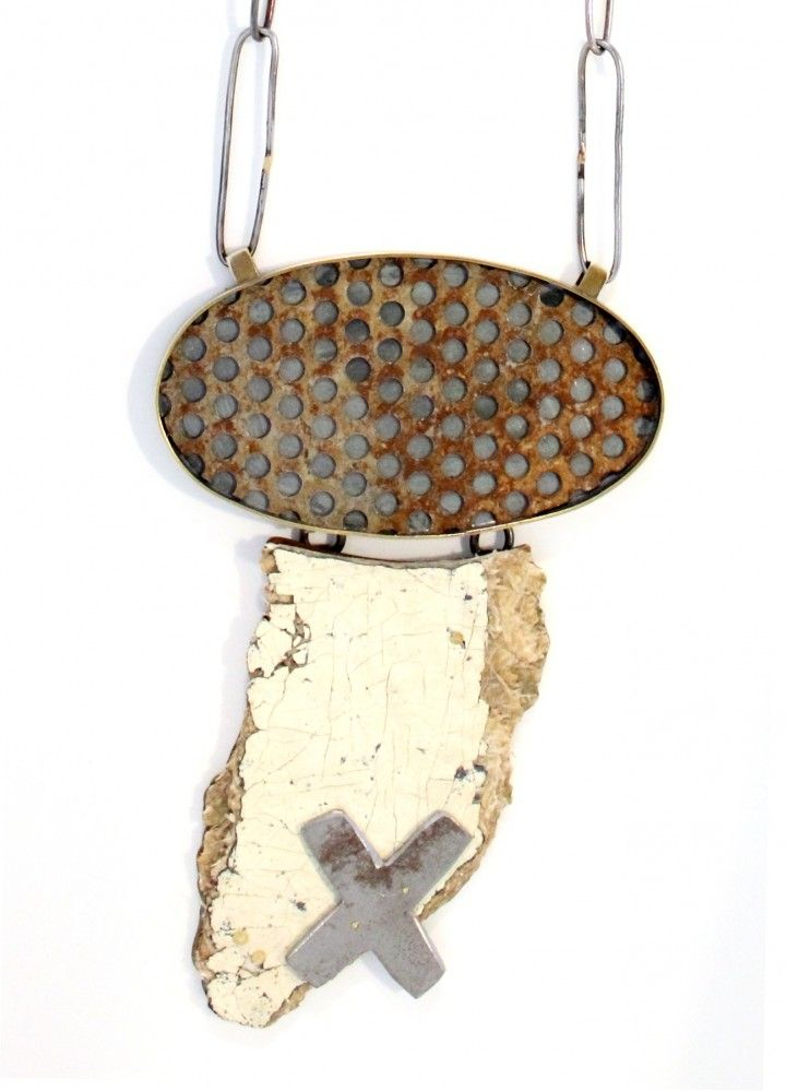 Detritus exhibition - Kat Cole, Assemblage X Necklace, 2013. Found objects, brass, sterling silver, steel. Photo by Kat Cole.