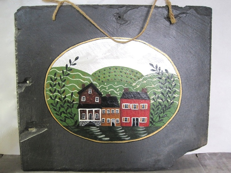 Primitive Painted Slate Roof Tile.