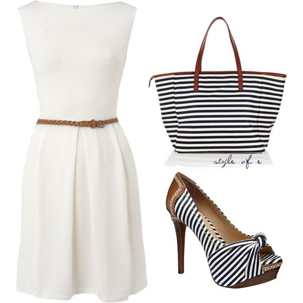 Mini white dress,stripes handbag and pumps