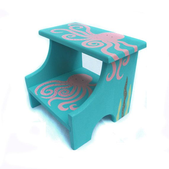 Large 2 Step Stool Custom Hand Painted Children S Bench
