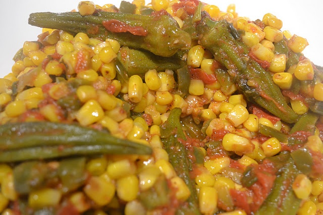 Maque Choux - Corn and Okra in Spicy Tomato Sauce.