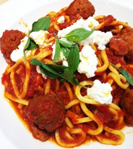 Chitarra with veal meatballs, spicy tomato sauce and fresh ricotta ...