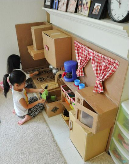 create a cardboard play kitchen