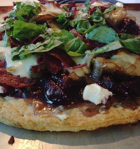 : Flatbread pizza with blueberries, goat cheese, caramelized onions ...