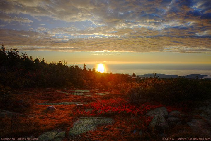 red autumn sunrise from cadillac mountain in acadia national park. Cars Review. Best American Auto & Cars Review