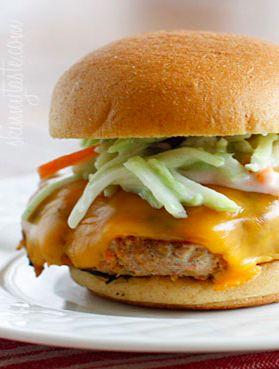 Buffalo Turkey Burgers with Blue Cheese Broccoli Slaw | Recipe