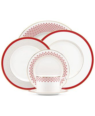 A pop of red and gold dots make Kate Spade's dinnerware a great pick for your registry