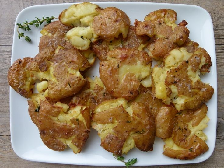 roasted smashed potatoes recipe -- they get crispy in the oven, not by ...