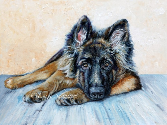 German Shepherd by Enzie Shahmiri Oil Painting