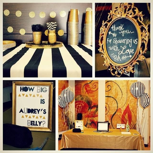 diy black white and gold baby shower party ideas pinterest