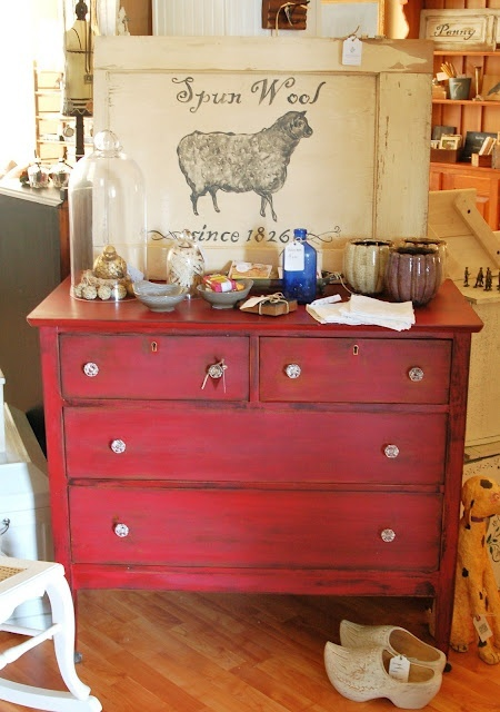 more red distressed furniture red things pinterest