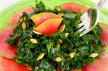 Kale Salad With Quick-Pickled Watermelon Radish Recipe — Dishmaps
