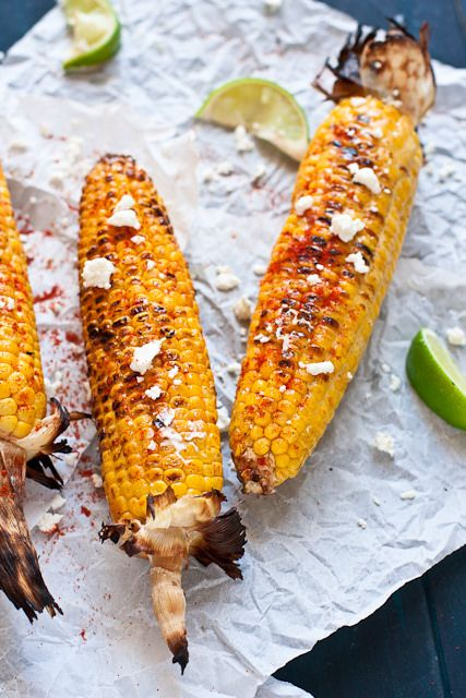 Mexican Grilled Corn (Elote) - Corn on the cob is grilled, brushed ...