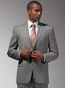Tommy Hilfiger Gray Plaid Suit