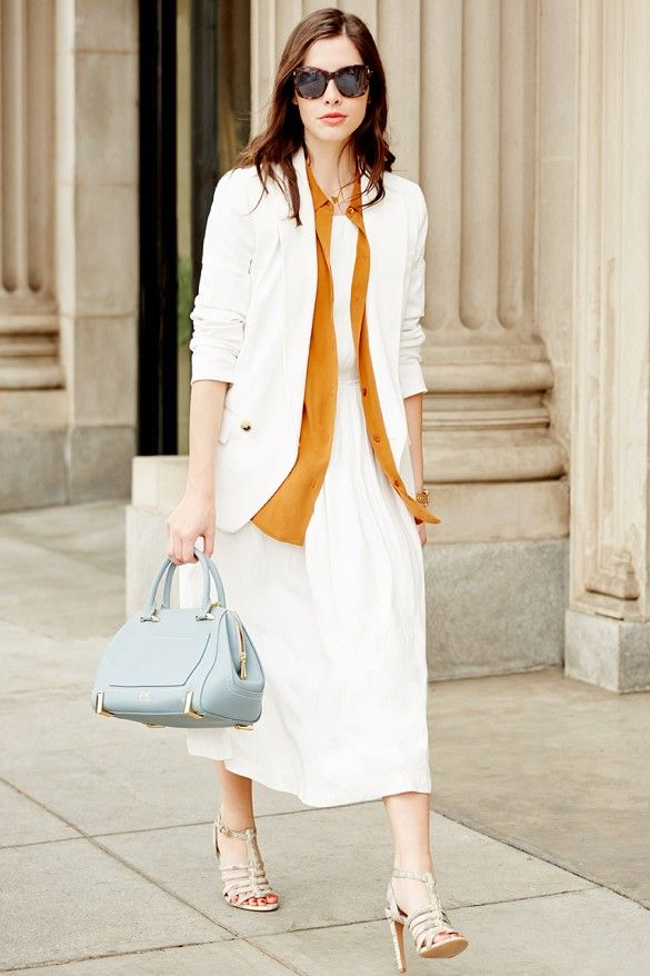 Love this white dress with a bold button-up shirt and blazer layered over top // #StreetStyle
