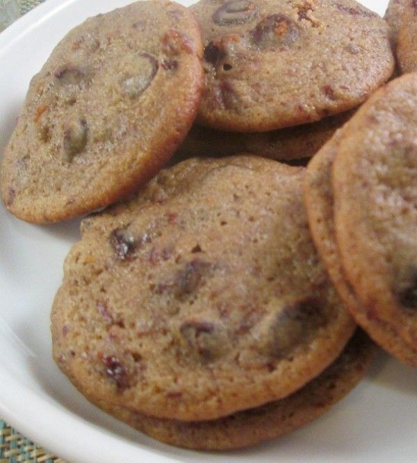Chewy Dark Chocolate Chip Cookies – with Rum Soaked Cherries
