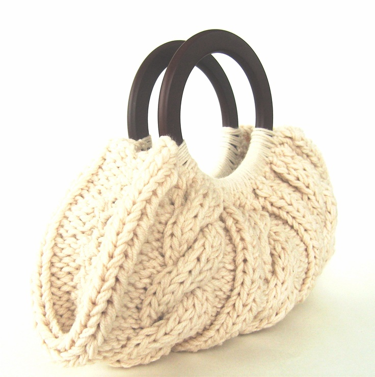 Cable Knit Purse With Wooden Handles - Cream. Love it!! $50