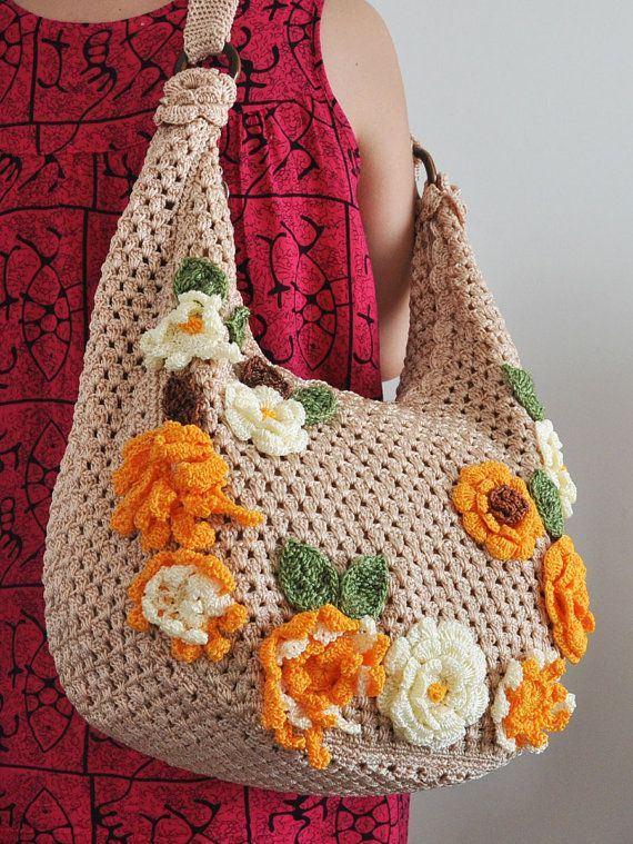 Flower Crochet Bag : FLORAL BAG 5 Crochet Flower Applique Bag by jennysunny on Etsy