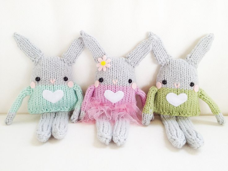 Knitting Pattern For Easter Bunny : Bunny Knitting Pattern - Mini Bunny Toy Easter Pattern - PDF