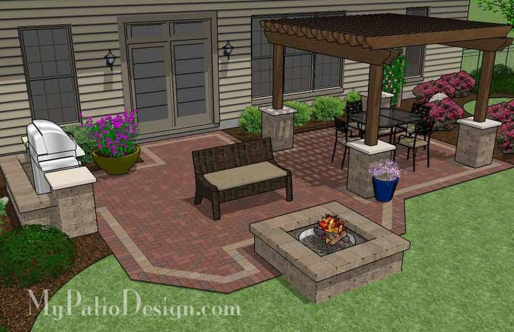 Backyard Ideas With Bricks : Backyard Brick Patio Design with 12 x 12 Pergola, Grill Station and