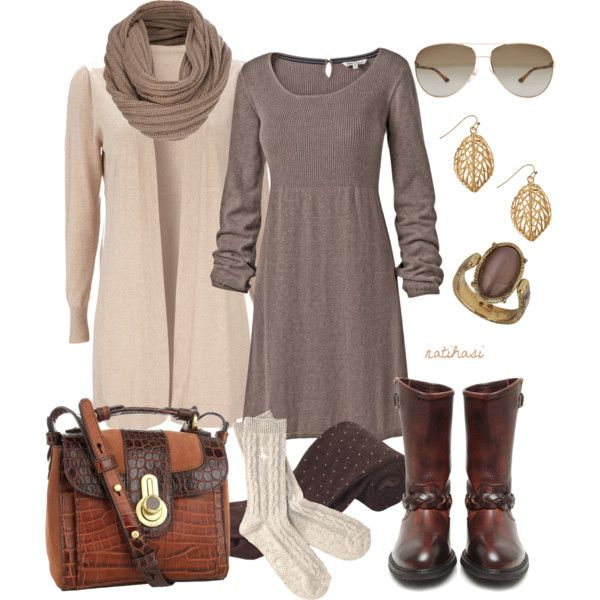 """Creme and Brown Fall Outfit"" by natihasi on Polyvore"