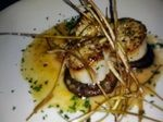 Seared Sea Scallops with tomato concassé, shiitake mushrooms, fried ...