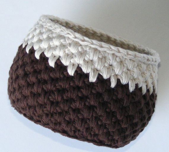 Crochet Storage Basket, Handmade Rich Brown Cotton Yarn Bowl