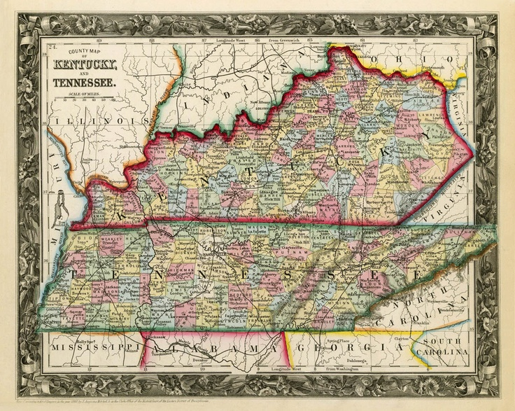 Vintage State Map Of Kentucky And Tennessee  1860 PRINT