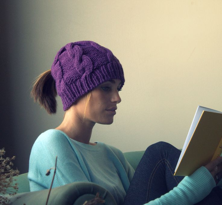 Girl Wearing Purple Cable Knit Ponytail Hat While Reading. Ponytail ...