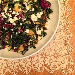 Kale and Feta Salad - with apple cider vinegar, 1 apple, 1/2 c feta, 1 ...