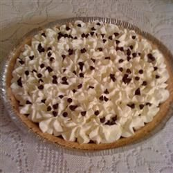 Caramel Pie with real whipped cream and chocolate chips. Yum-o!