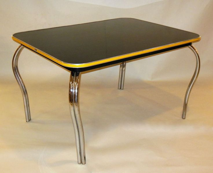 Mid Century Deco Black Formica Dining Kitchen Table W Chrome Legs Urb