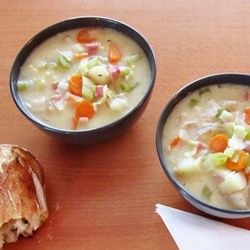 Potato Ham and Leek Soup by ateaspoonofhappiness