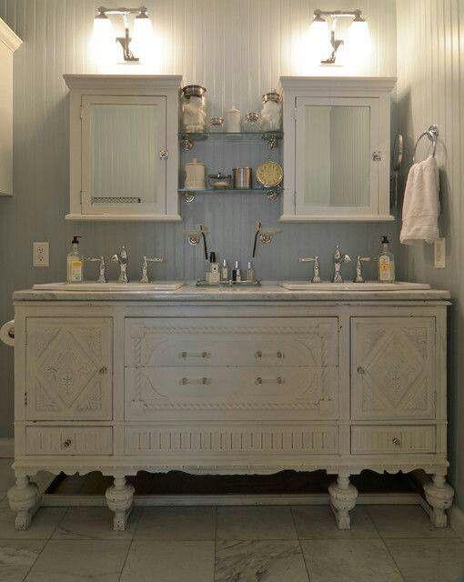 Buffet turned vanity bathroom ideas pinterest for Turning a dresser into a bathroom vanity