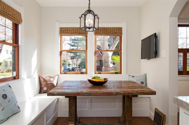 Rustic table corner kitchen nook 1920s spanish bungalow - Corner kitchen nook table ...