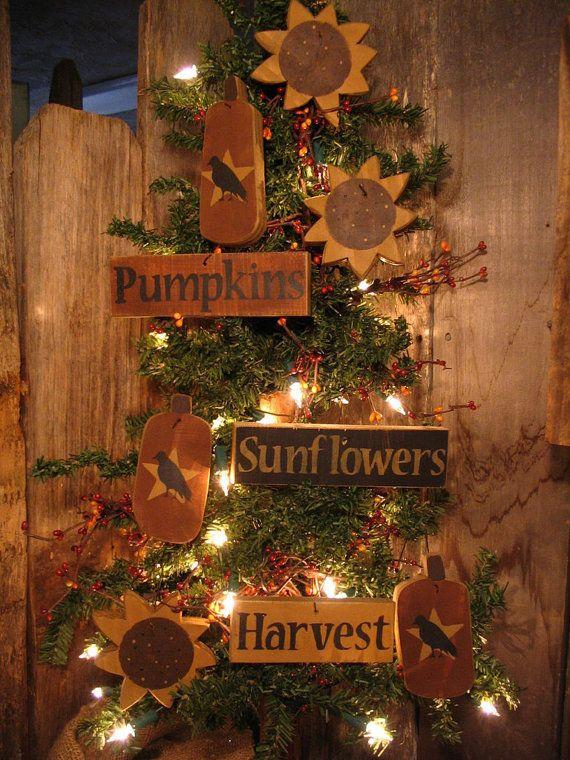 Primitive Folk Art Fall Harvest Sign Ornies SUNFLOWERS PUMPKINS CROW